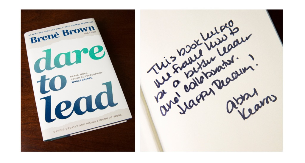 Dare To Lead by Brene Brown book and book inscription photographed by professional product photographer Ali Peterson.