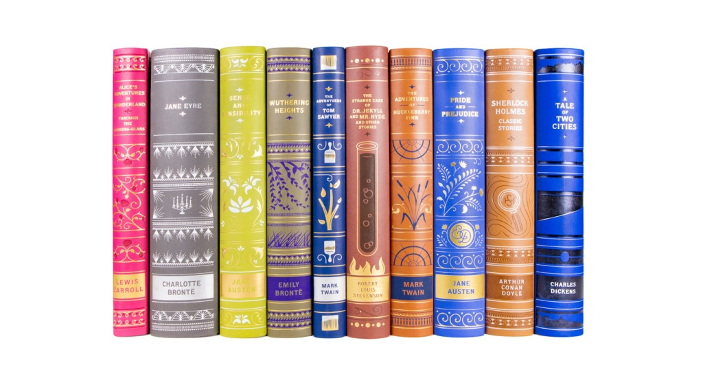 Multiple classic books photographed by professional product photographer Ali Peterson.