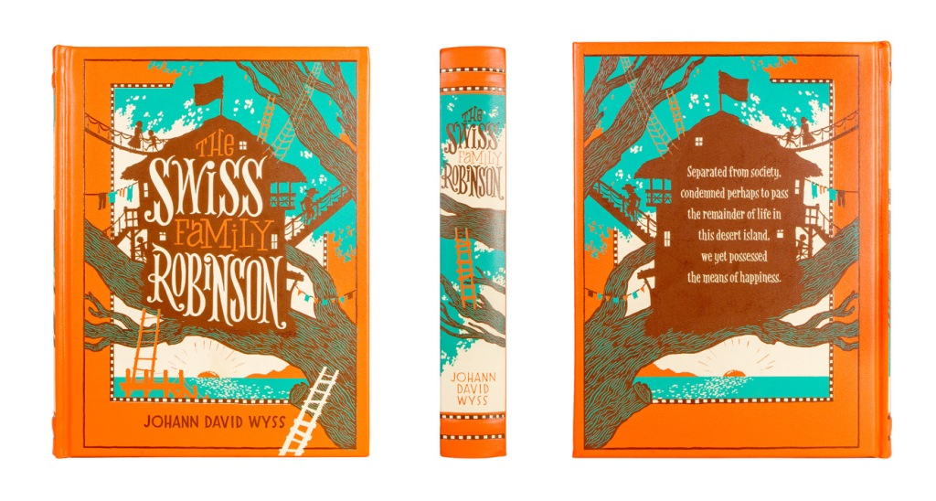 The Swiss Family Robinson classic book cover, spine, and back photographed by professional product photographer Ali Peterson.