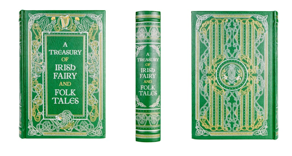 A Treasury of Irish Fairy and Folk Tales classic book cover, spine, and back photographed by professional product photographer Ali Peterson.